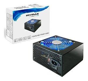 FONTE ATX 500W 24 PINOS 2 SATA HIGH POWER MYMAX P1