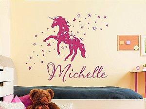 Adesivo de parede - Nome com Cavalo e Estrelas