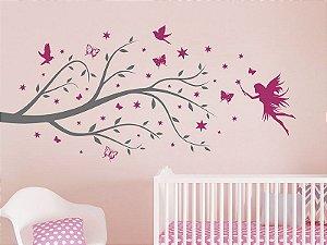 Adesivo de parede - Árvore com Fada e Borboletas
