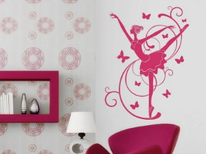 Adesivo de parede - Bailarina e Borboletas