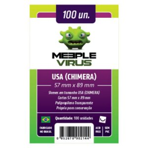 Sleeves Meeple Virus 57 x 89 MM - (USA CHIMERA) - 100 Unidades