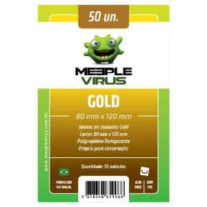 Sleeves Meeple Virus 80 x 120 MM - (GOLD) - 50 Unidades