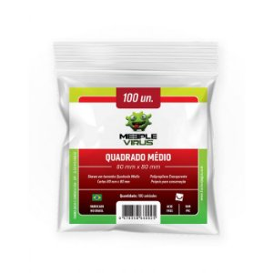 Sleeves Meeple Virus 80 x 80 MM - (QUADRADO MÉDIO) - 100 Unidades