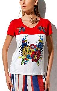 T-Shirt Estampa Localizada E Bordados