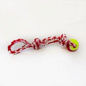 Brinquedo Mordedor Cachorro Corda Pet Bola Tênis Cães DOG006