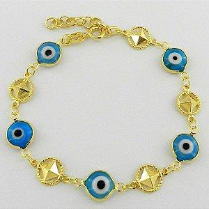 Pulseira Feminina 21 A 25cm Olho Grego Folheado Ouro Pl315