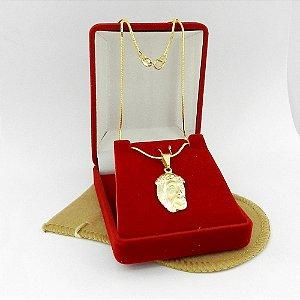 Corrente Masculina 60cm 1mm Cristo Folheado Ouro Cr119