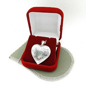Pingente Coração Relicário 3cm Folheada Prata Pi181