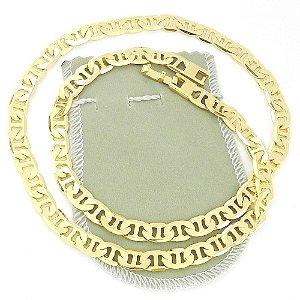 Corrente Masculina 53cm 8mm Largura Folheada Ouro Cr156A