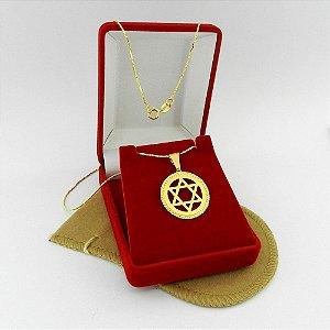 Corrente Masculina 70cm Estrela 23mm Folheado Ouro Cr157