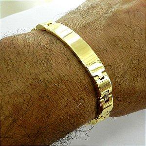 Pulseira Masculina 20cm 1cm Largura Folheada Ouro PL144