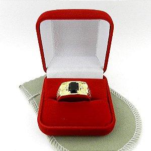 Anel Masculino Aro 30 Preto Folheado Ouro AN160-30PR