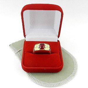 Anel Masculino Aro 24 Vermelho Folheado Ouro AN160-24VM