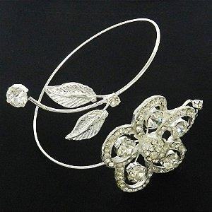 Bracelete Feminino Flor Stras Branco Folheada Prata BRA74