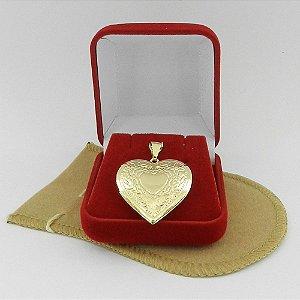 Pingente Coração Relicário 3cm Folheado Ouro Pi157