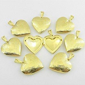 Coração Relicario 3cm Kit 50 Peças Folheado Ouro Pi157-K50