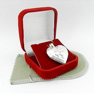 Pingente Coração Relicário 2cm Folheada Prata Pi168