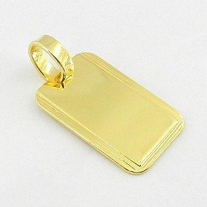 Pingente Placa 25mm Folheado Ouro Pi114