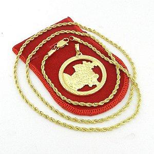 Corrente Masculina 53cm 3mm São Jorge Folheado Ouro CR468