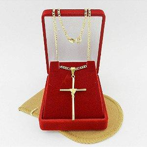 Corrente Masculina 70cm 2mm Cruz Palito Folheada Ouro CR673