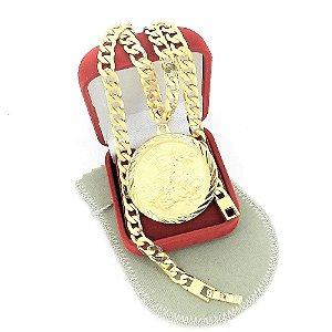 Corrente Masculina 50cm 6mm São Jorge Folheado Ouro Cr127