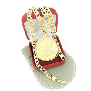 Corrente Masculina 70cm 6mm São Jorge Folheado Ouro CR127