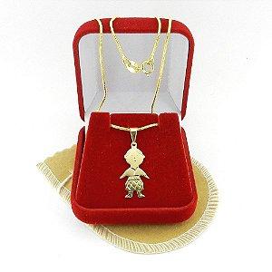 Corrente Feminina 40cm 1mm Menino Folheado Ouro CR729