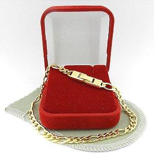 Pulseira Masculina 19cm 5mm Largura Folheado Ouro PL406