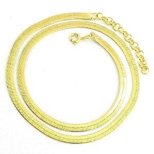 Corrente Feminina 40cm 3mm Largura Folheada Ouro Cr342