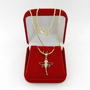 Corrente Feminina 50cm Libelula Strás Folheada Ouro Cr441