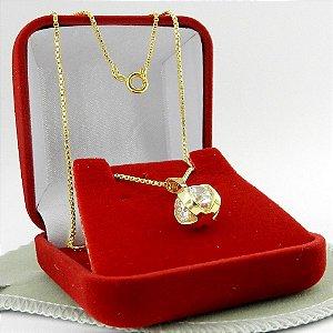 Corrente Feminina 40cm 1mm Strás branco Folheada ouro CR573