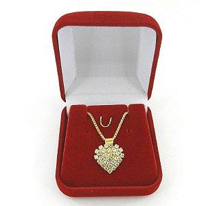 Corrente Feminina 45cm Coração Strás Folheado Ouro Cr690