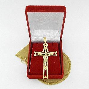 Pingente Cruz Cristo 6cm Folheado Ouro Pi145
