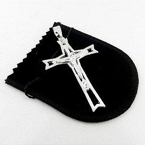 Pingente Cruz Cristo 6cm Folheado Prata Pi146