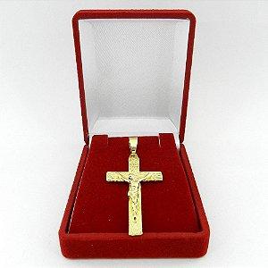 Pingente Cruz Cristo 25x45mm Folheada Ouro Pi153