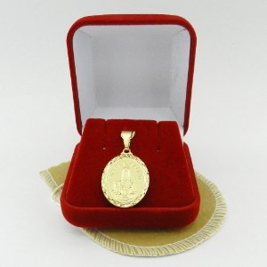 Pingente N. S. Fatima 28mm Folheado Ouro Pi155