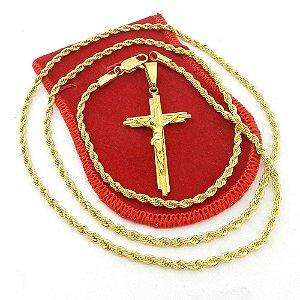 Corrente Masculina 80cm 3mm Cruz Cristo Folheado Ouro CR752