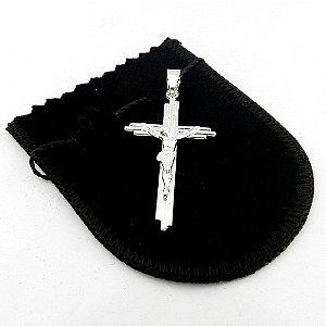 Pingente Cruz Cristo 45mm Folheado Prata Pi147