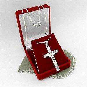 Corrente Masculina 60cm 1mm Cruz Cristo Folheada Prata Cr312