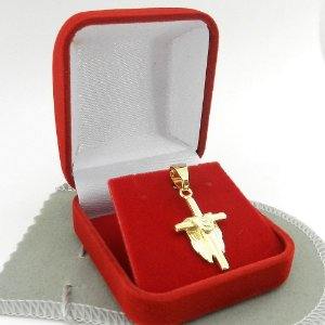 Pingente Cruz Manto 30mm Folheado Ouro Pi128