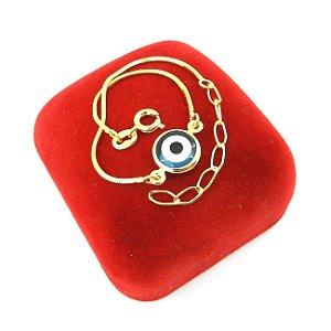 Pulseira Feminina 16/20cm 1mm Olho Grego Folheada Ouro PL492