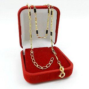 Corrente Feminina 45/50cm 3mm Preta Folheado Ouro CR800