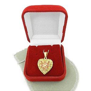 Pingente Coração Aromatizado 2cm Folheado Ouro Pi221