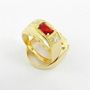 Anel Masculino Aro 24 Vermelho Folheado Ouro AN170