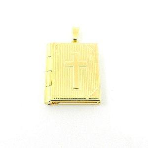 Pingente Relicario Livro 25mm Folheado Ouro Pi203
