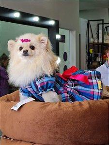 Vestido para Cachorro Xadrez Azul e Pink
