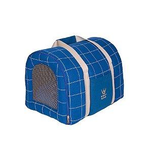 Bolsa De Transporte Pet Woof Classic Lazzy Grid Azul