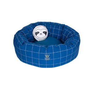 Cama Para Cachorro Woof Classic Fofinha Lazzy Grid Azul