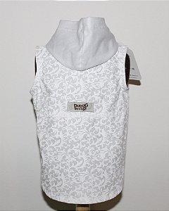 Colete Estampado Branco com capuz DuDog Vest Ano Novo