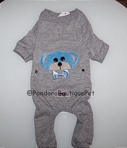 Pijama + travesseiro DuDog Vest - cinza a azul